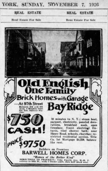 Barwell Terrace ad from the Brooklyn Eagle