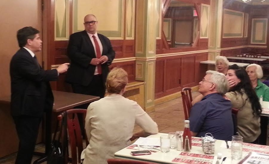 Vicnent Gentile addressing the Bay Ridge Democrats in the backroom of the Bridgeview Diner