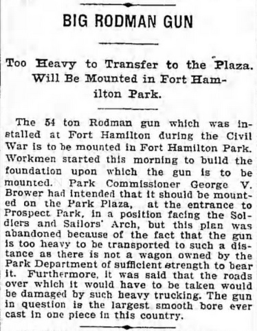 How Cannonball Park's ended up with its signature artillery piece, according to the Brooklyn Daily Eagle in 1900.