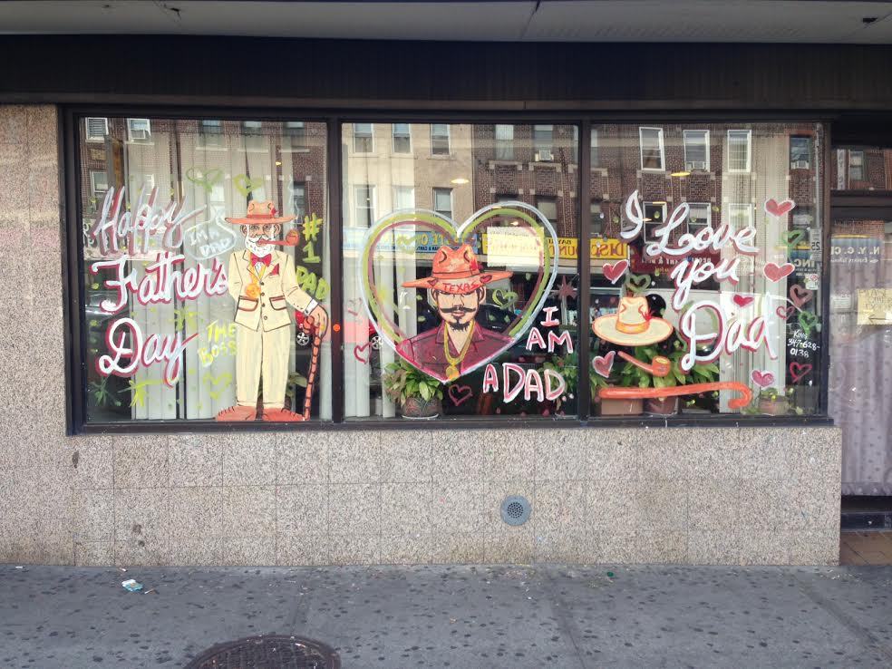 Father's Day window painting by King on Emphasis in Bay Ridge