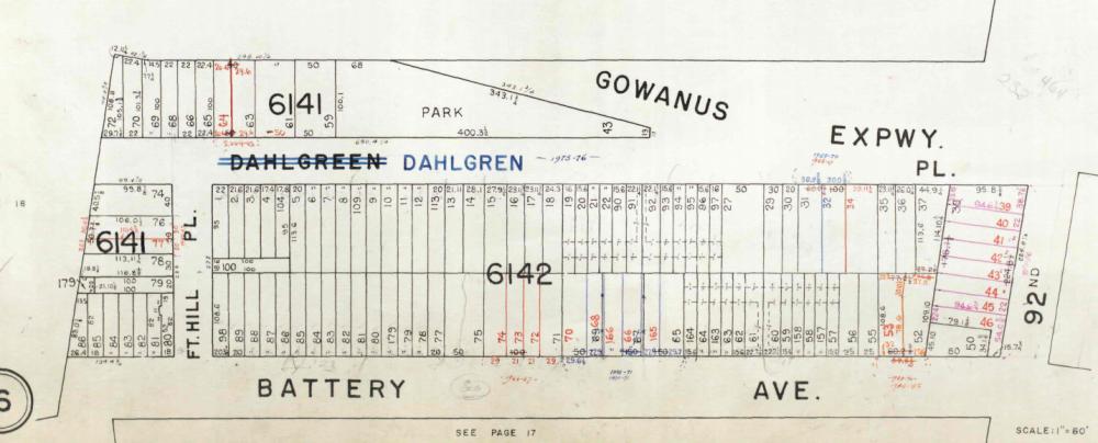 Dahlgren Place park on a map, 1964