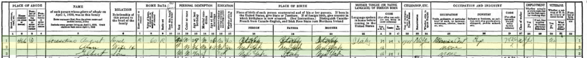 Sorrentino family in the 1930 census