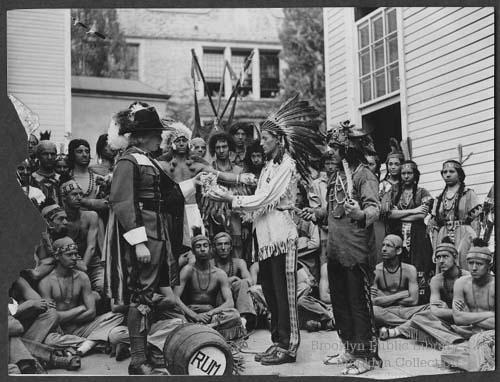Reenactment in Brooklyn of Native American land sale