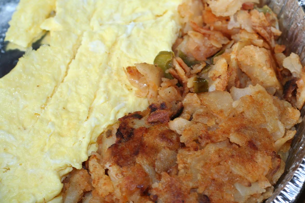 Scrambled eggs and homefries