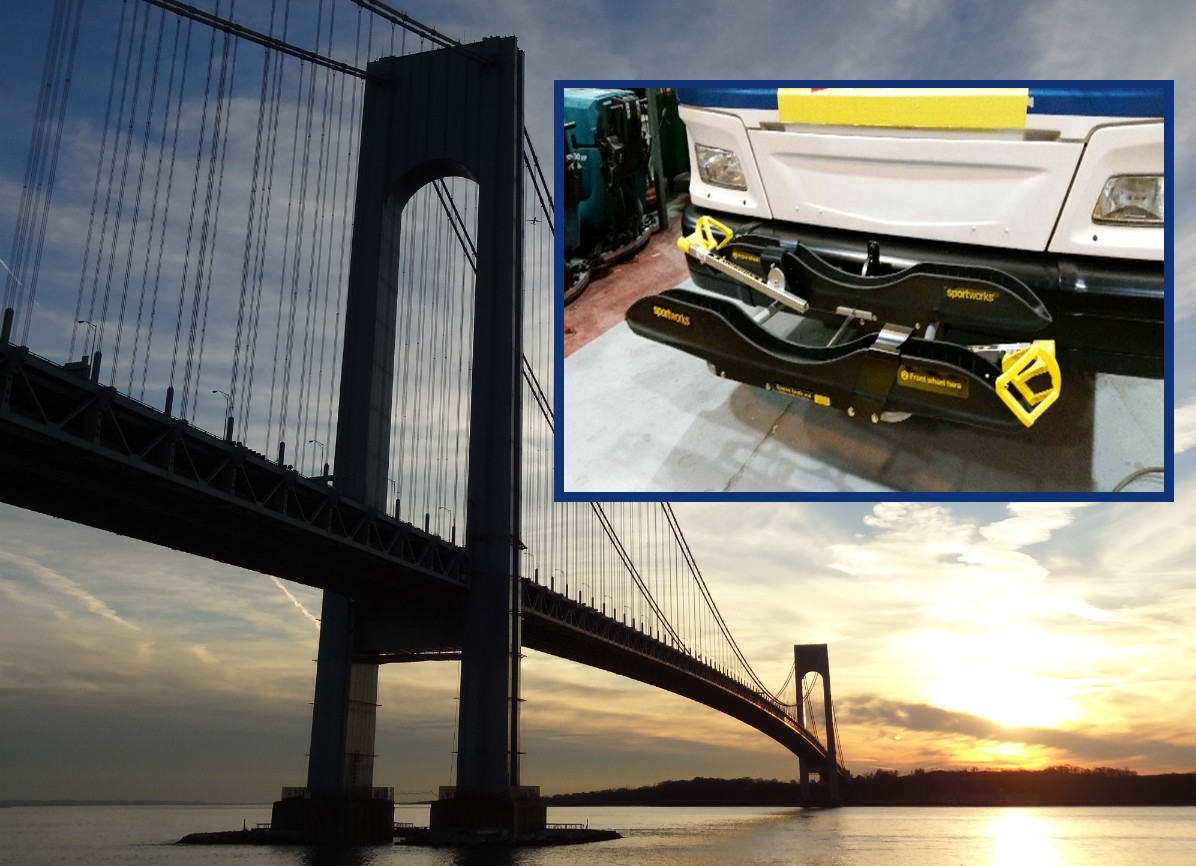Beginning this month, you will be able to take bicycles over the Verrazano Bridge with the MTA bus. (Main photo by Hey Ridge, inset photo by the Metropolitan Transportation Authority)