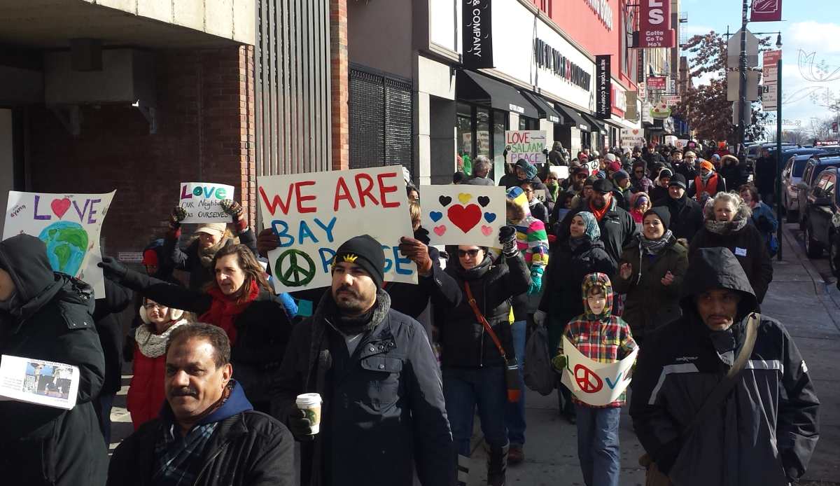 Marching in Bay Ridge in support of Arab neighbors