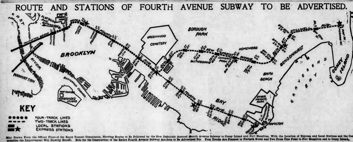 Proposed Brooklyn Subway Routes, 1907