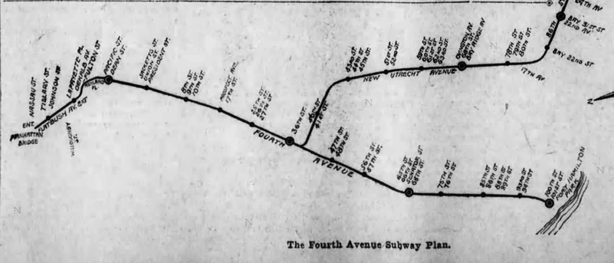 Old Fourth Avenue subway plan