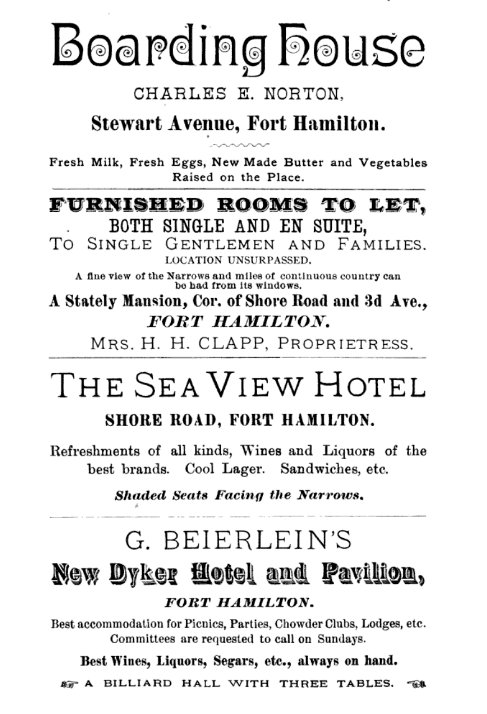 Fort Hamilton ads for lodgings