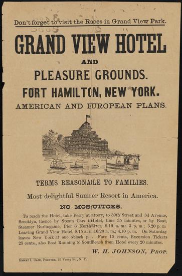 Grand View Hotel handbill