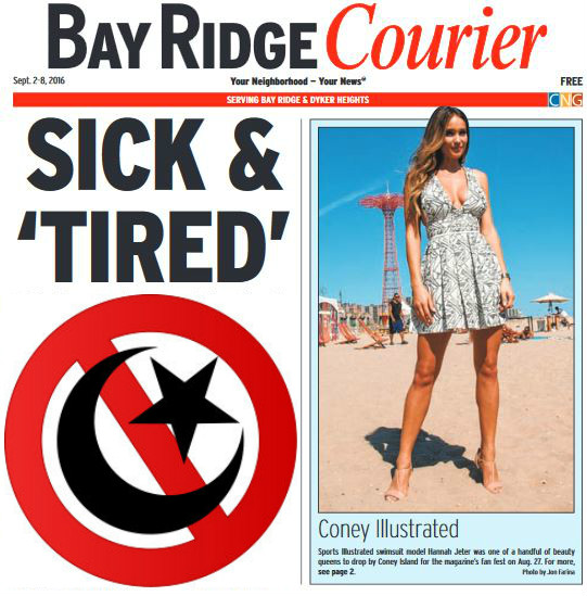 Not the actual cover of the September 2-8 issue of the Bay Ridge Courier, but it might as well be.