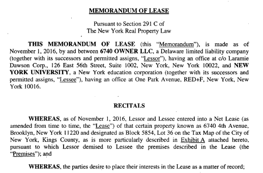 Memo of lease to NYU
